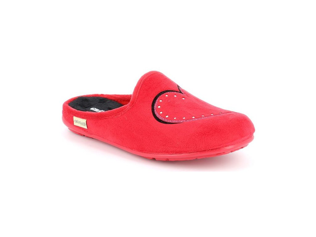 FAYE CI2065 domácí pantofle červené se srdíčkem Grunland 1