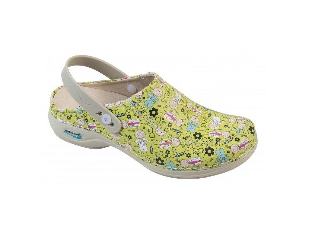 PARIS pracovní kožená pratelná obuv s certifikací s páskem Playing Kids.Enf. WG4PF55 Nursing Care 1