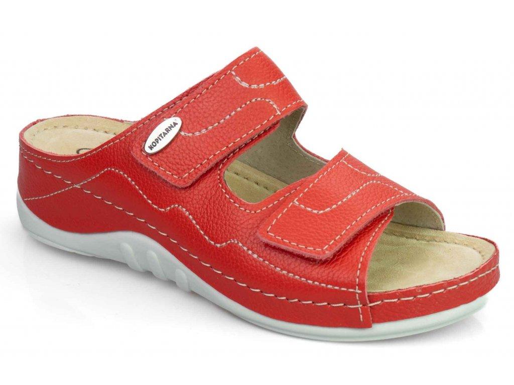 2748 08 dámské páskové pantofle v červené barvě Kopitarna
