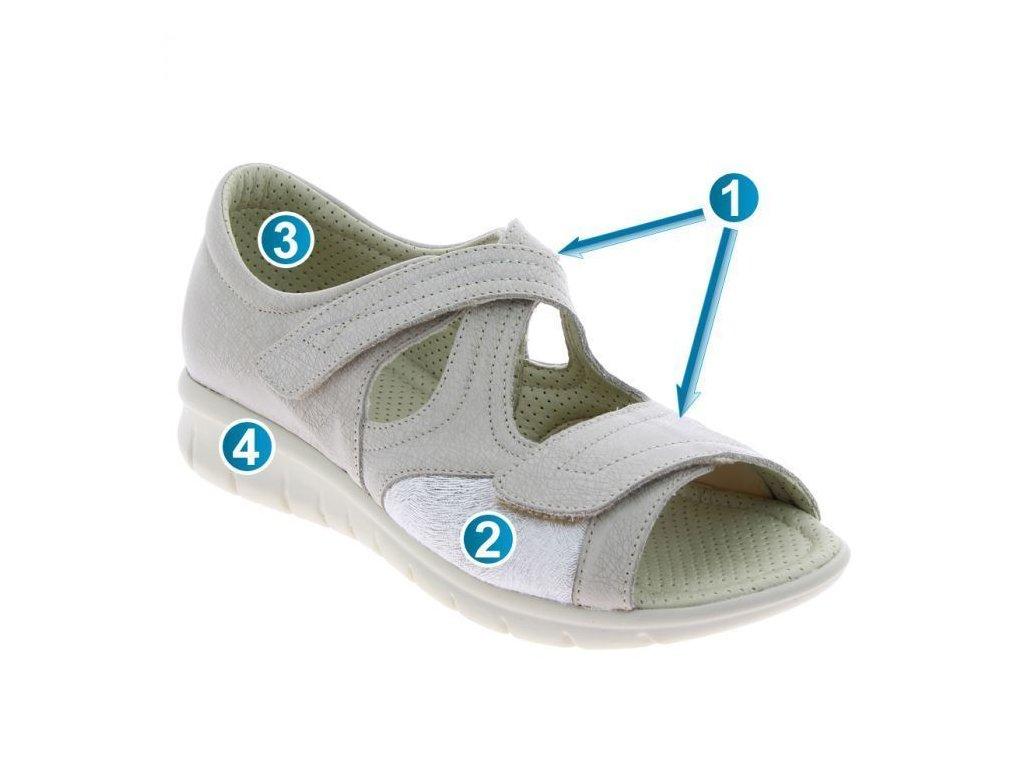 CHLOE zdravotní sandál beige béžová PodoWell 1
