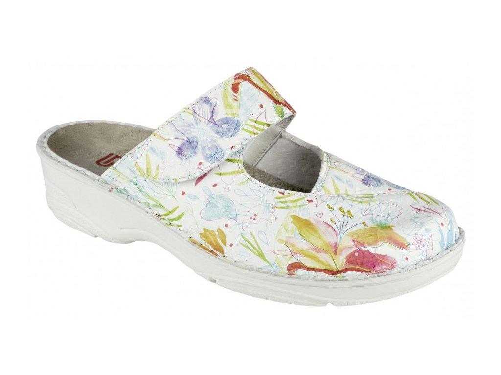 HELIANE halluxový nazouvák dámský bílý s květy 03457 110 Berkemann 1
