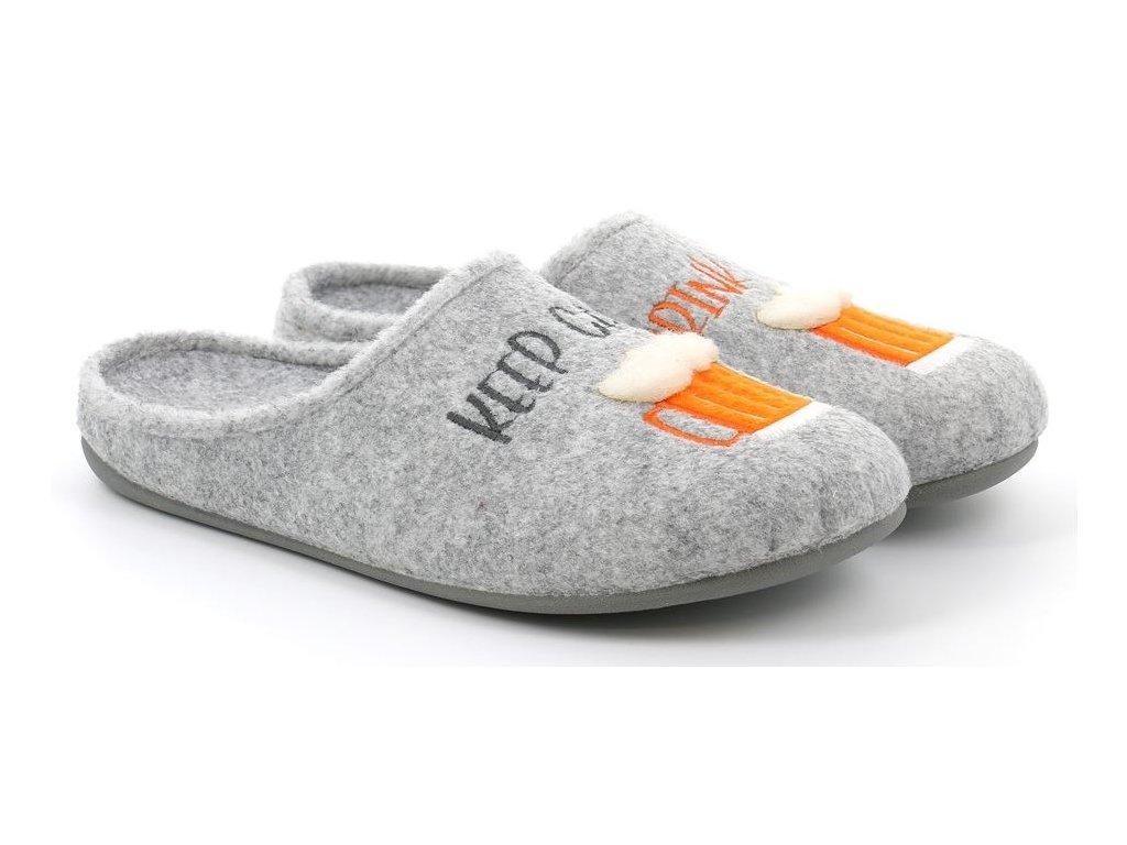 LECY CI2413 pánská domácí pantofle šedá pivo Grunland 1