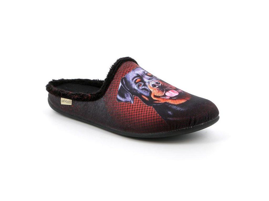 LECY CI2723 panská domácí pantofle s Rotvajlerem černá Grunland 1
