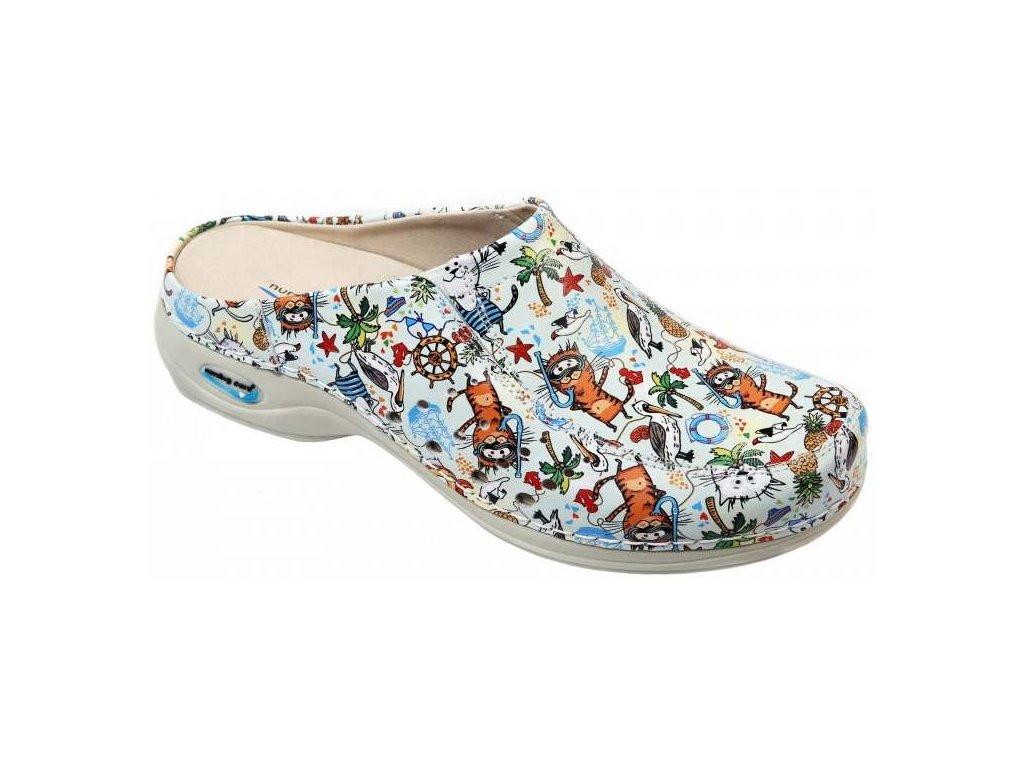 BERLIM pracovní kožená pratelná obuv s certifikací dámská bez pásku cartoons WG4AF37 Nursing Care 2