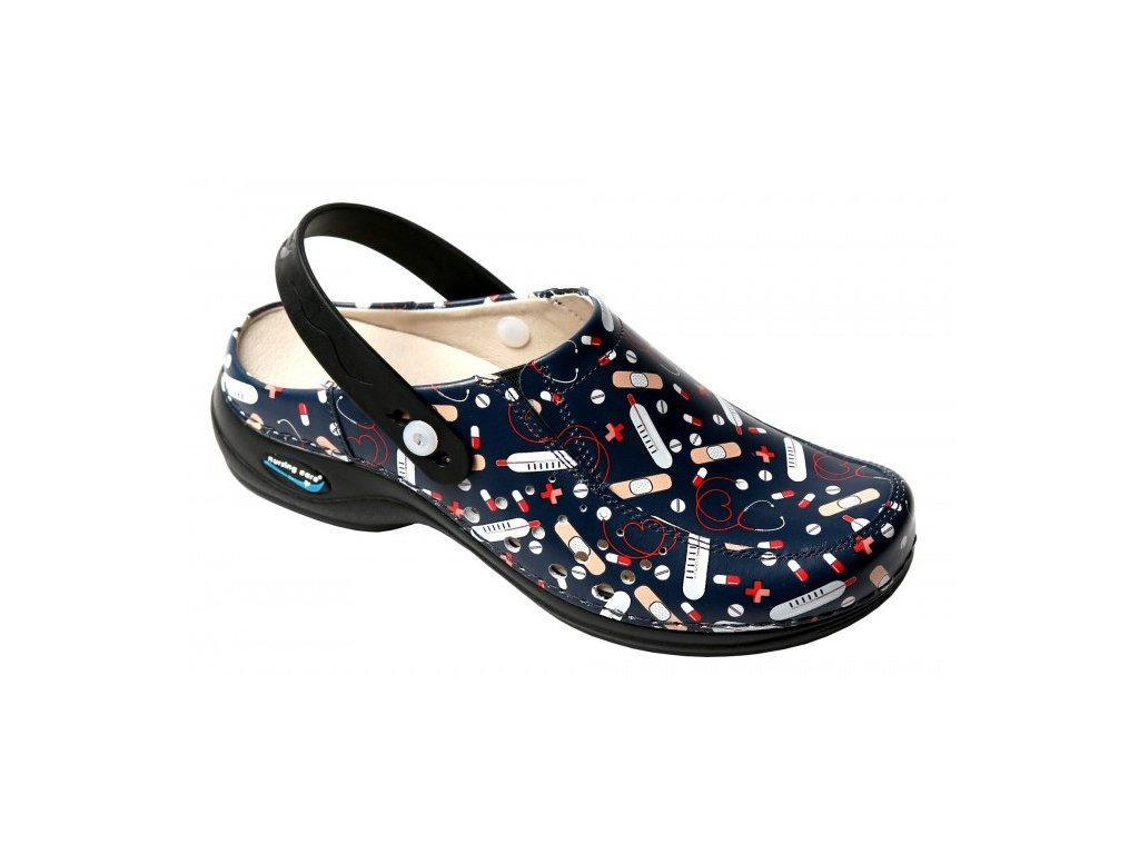 BERLIM pracovní kožená pratelná obuv s certifikací unisex s páskem health 03 WG4APF26 Nursing Care 2