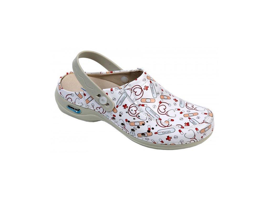 BERLIM pracovní kožená pratelná obuv s certifikací unisex s páskem health 10 WG4APF25 Nursing Care 2