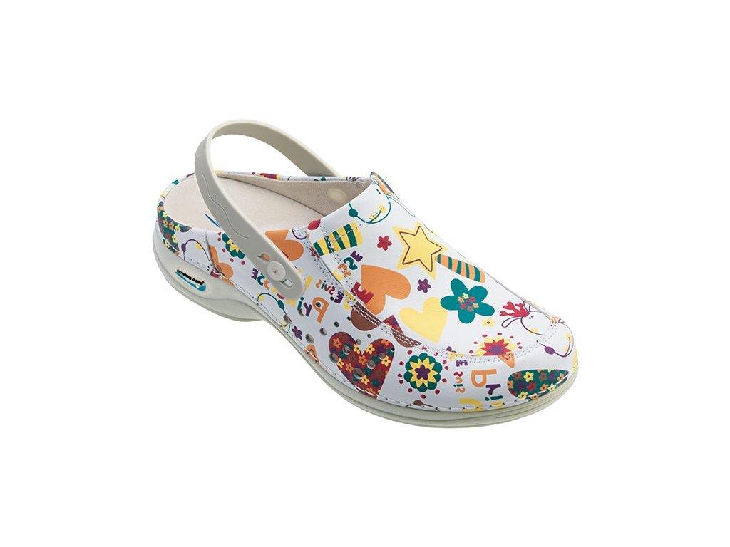 BERLIM pracovní kožená pratelná obuv s certifikací dámská s páskem junior WG4APF2 Nursing Care 2