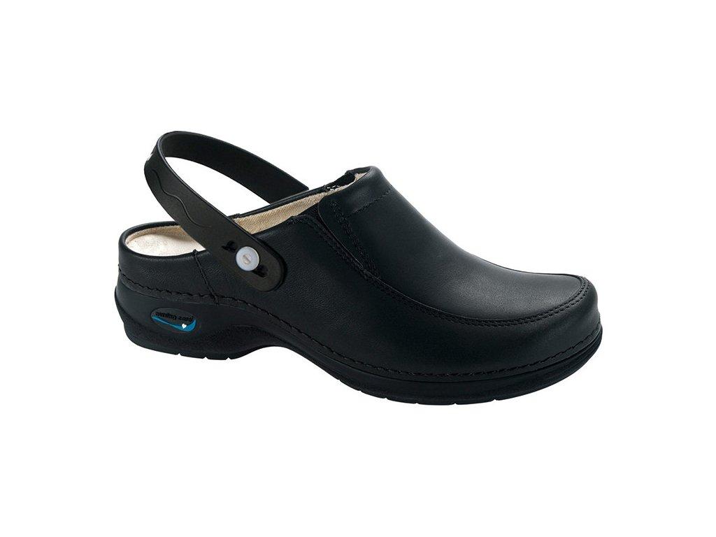 PARIS pracovní kožená pratelná obuv s certifikací unisex s páskem černá WG4P11 Nursing Care