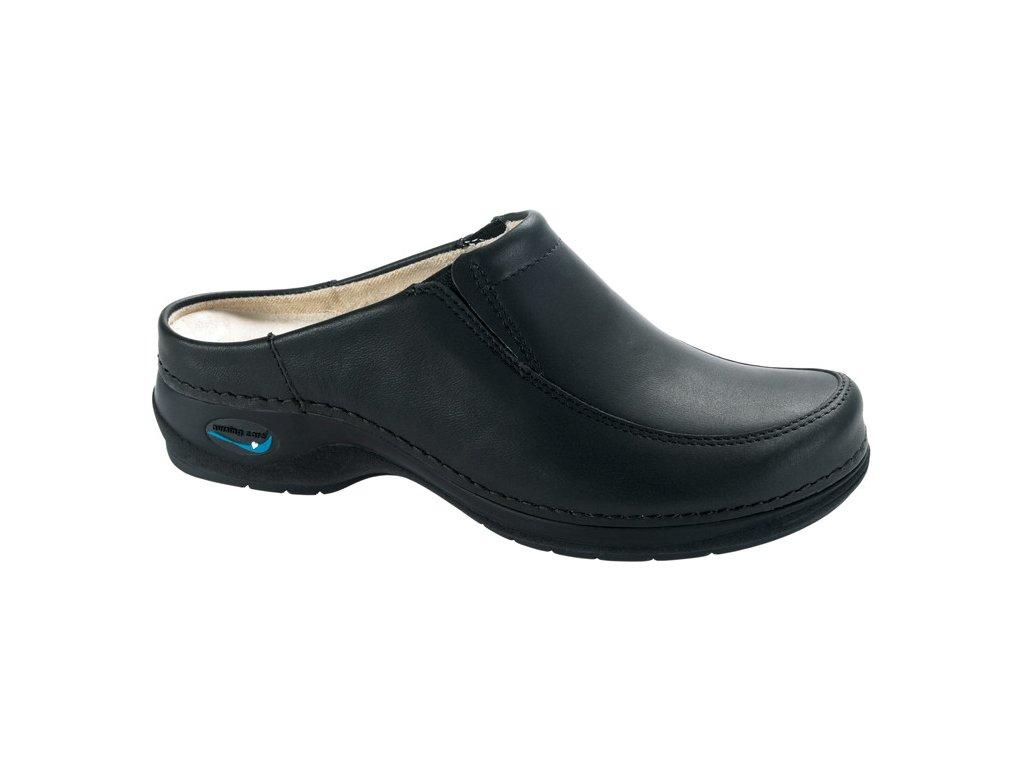 PARIS pracovní kožená pratelná obuv s certifikací unisex bez pásku černá WG411 Nursing Care