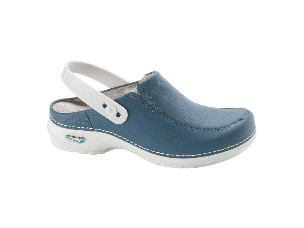PARIS pracovní kožená pratelná obuv s certifikací s páskem unisex modrá džínová WG4P04 Nursing Care