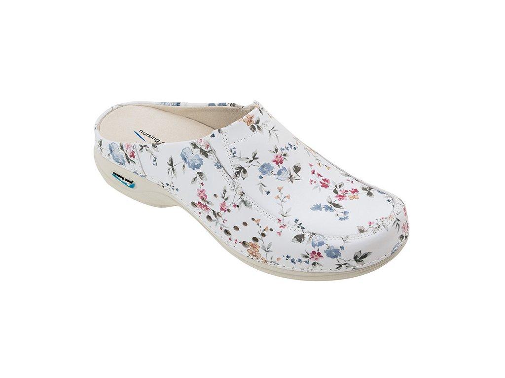 BERLIM pracovní kožená pratelná obuv s certifikací dámská bez pásku květy WG4AF1 Nursing Care 1