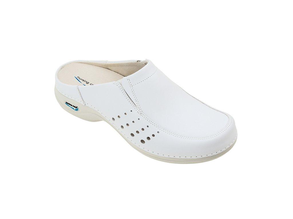 BERLIM pracovní kožená pratelná obuv s certifikací unisex bez pásku bílá WG4A10 Nursing Care 2
