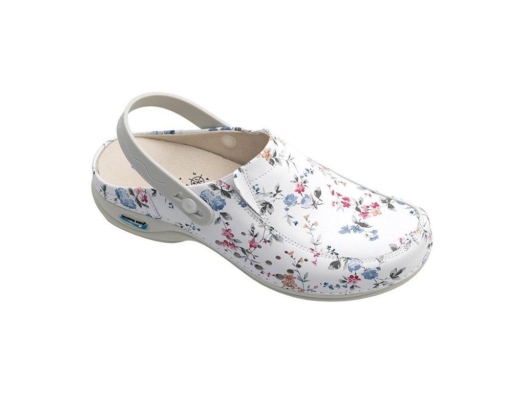 BERLIM pracovní kožená pratelná obuv s certifikací dámská s páskem květy WG4APF1 Nursing Care 3