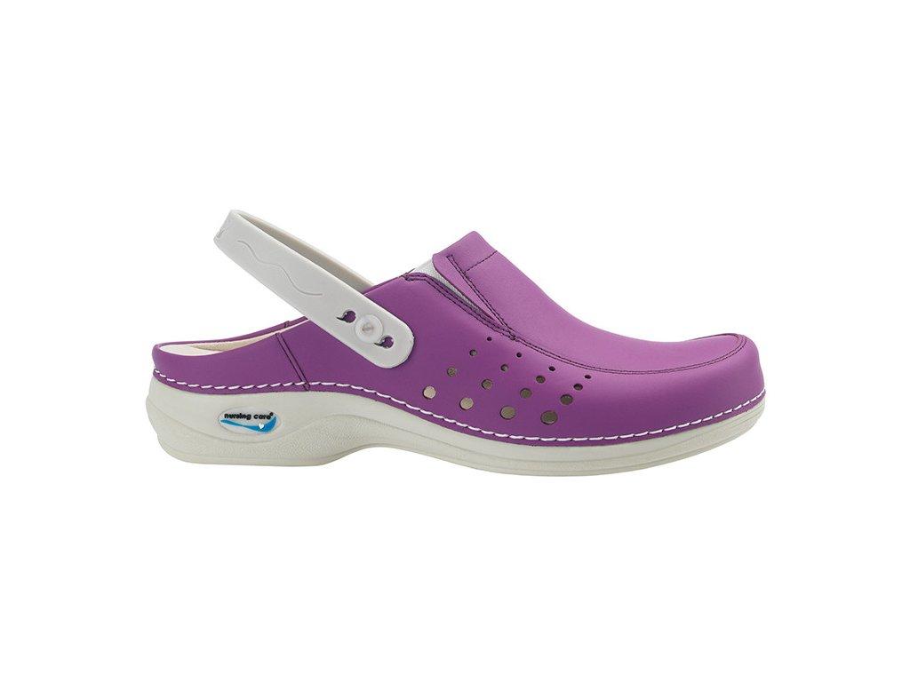 BERLIM pracovní kožená pratelná obuv s certifikací dámská s páskem purpurová