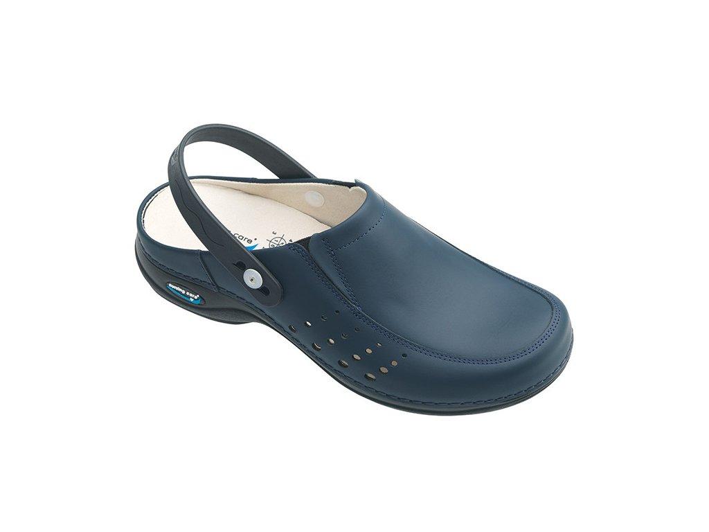 BERLIM pracovní kožená pratelná obuv s certifikací unisex s páskem tmavě modrá WG4AP03 Nursing Care 2