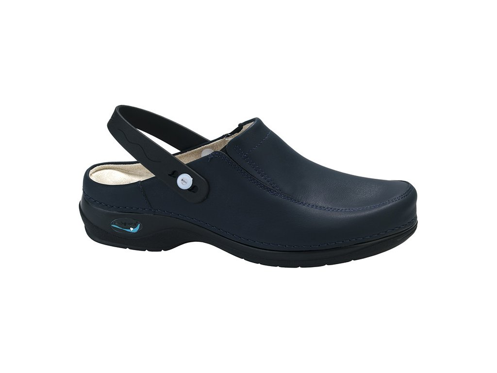 PARIS pracovní kožená pratelná obuv s certifikací unisex s páskem tmavě modrá WG4P03 Nursing Care