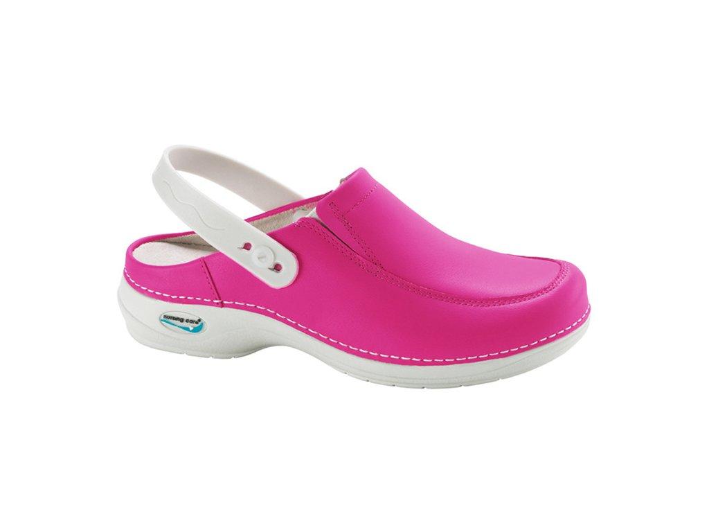PARIS pracovní kožená pratelná obuv s certifikací s páskem fuchsiová WG4P09 Nursing Care