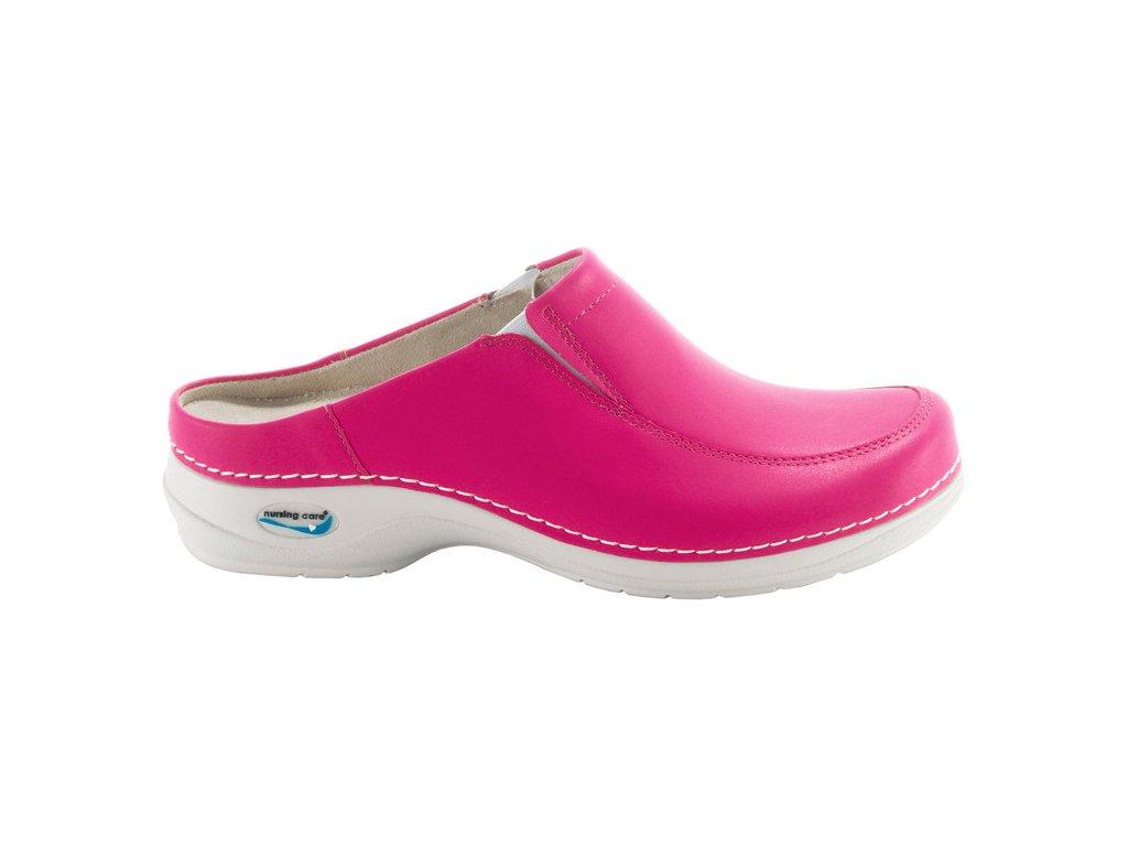 PARIS pracovní kožená pratelná obuv s certifikací bez pásku fuchsiová WG409 Nursing Care