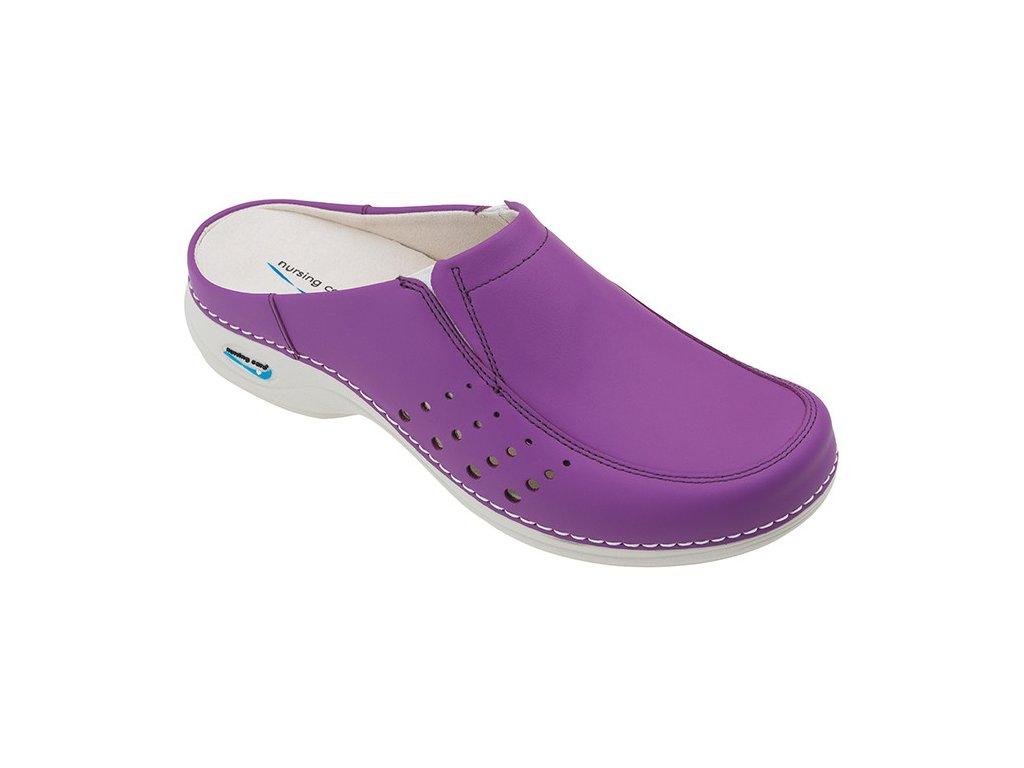BERLIM pracovní kožená pratelná obuv s certifikací dámská bez pásku purpurová WG4A20 Nursing Care 2