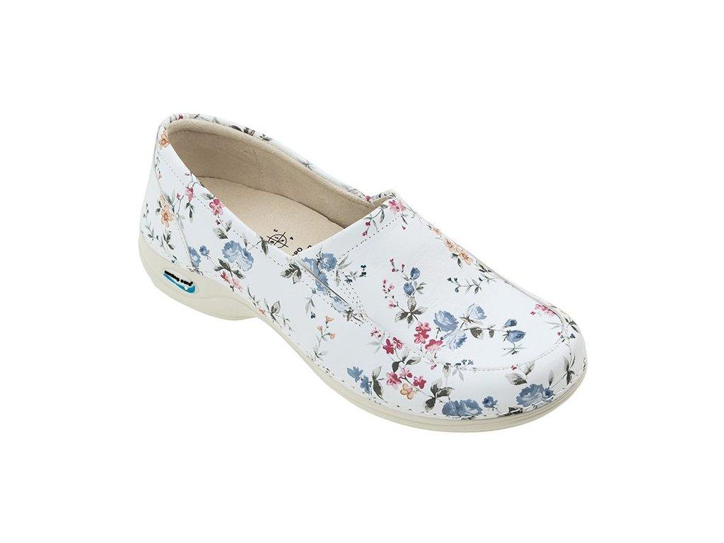 ROMA pracovní kožená pratelná dámská obuv květy WG10F1 Nursing Care