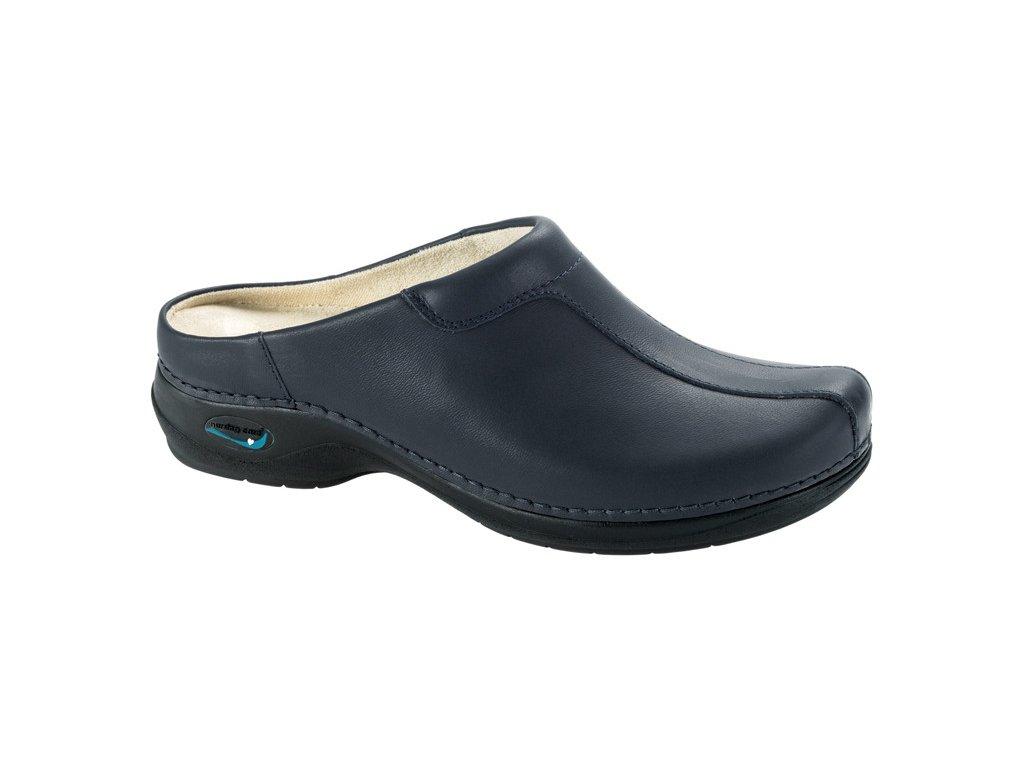 MADRID pracovní kožená pratelná obuv s certifikací unisex bez pásku tmavě modrá WG203 Nursing Care