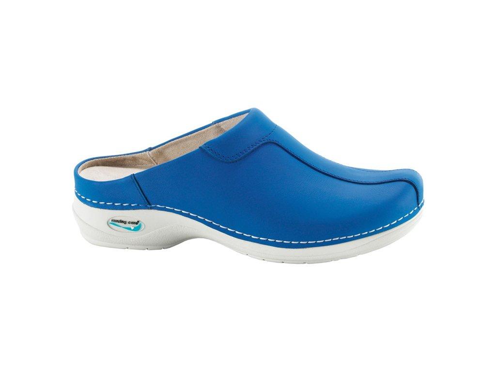 MADRID pracovní kožená pratelná obuv s certifikací unisex bez pásku modrá WG207 Nursing Care