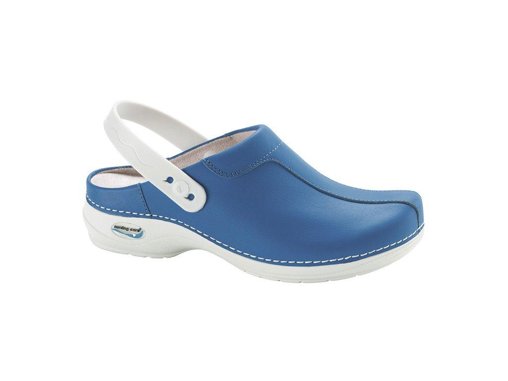 MADRID pracovní kožená pratelná obuv s certifikací unisex s páskem modrá WG2P07 Nursing Care