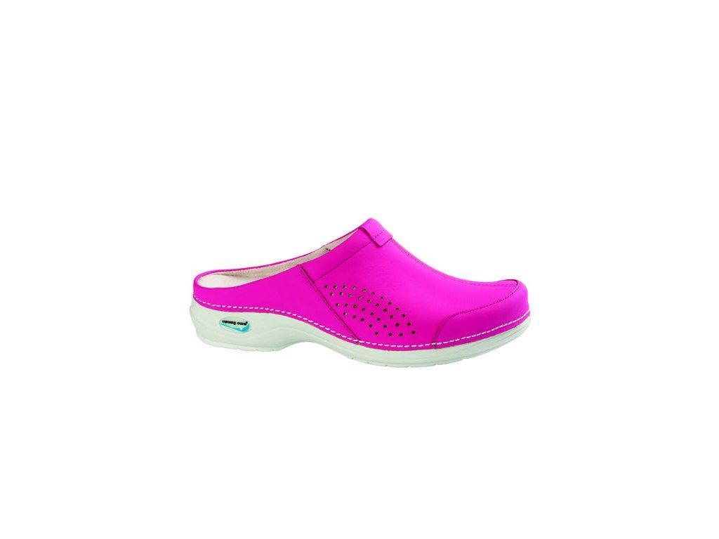 VENEZA pracovní kožená pratelná obuv bez pásku fuchsiová WG3A09 Nursing Care