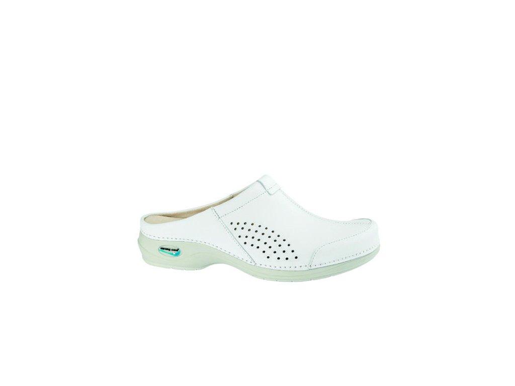 VENEZA pracovní kožená pratelná obuv s certifikací bez pásku unisex bílá WG3A10 Nursing Care