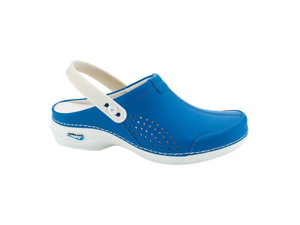 VENEZA pracovní kožená pratelná obuv s certifikací unisex s páskem modrá WG3AP07 Nursing Care