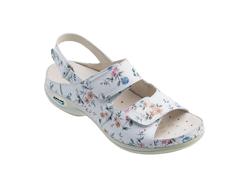 HELSINKI pracovní kožený pratelný sandál s certifikací dámský květy WG9F1 Nursing Care 2