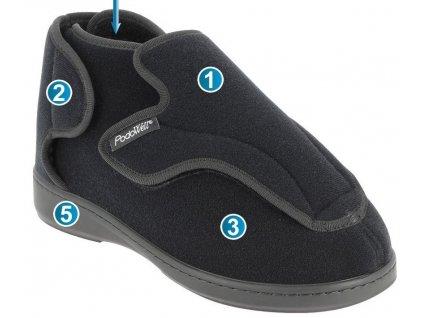 ALTITUDE zdravotní obuv pro extrémně oteklé nohy unisex černá PodoWell