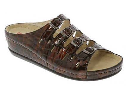 HASSEL 00737 498 zdravotní pantofle dámská hnědá krokodýlí lak Berkemann 1