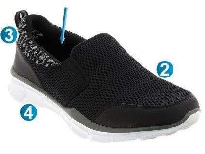 VALOIS sportovní obuv s paměťovou stélkou pánská černá PodoWell