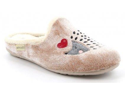 FAYE CI2784 dámská domáci pantofle béžová s ježečkem Grunland zdravotní 1