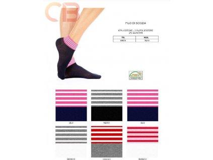 KIKI dámská krátké ponožky s barevným lemem Meritex