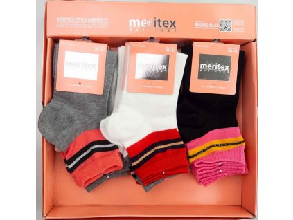 PETRA dámské ponožky s barevným lemem Meritex