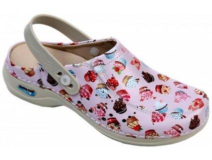 BERLIM pracovní kožená pratelná obuv s certifikací dámská s páskem dortíky WG4APF30 Nursing Care 3
