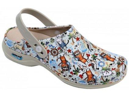BERLIM pracovní kožená pratelná obuv s certifikací dámská s páskem cartoons WG4APF37 Nursing Care 3