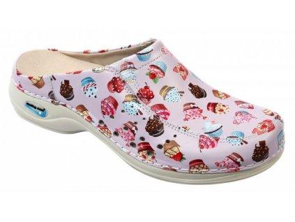 BERLIM pracovní kožená pratelná obuv s certifikací dámská bez pásku dortíky wash go Nursing Care 2