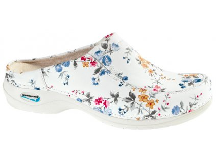 PARIS pracovní kožená pratelná obuv s certifikací bez pásku květy WG4F1 Nursing Care