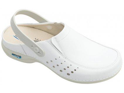 BERLIM pracovní kožená pratelná obuv s certifikací unisex s páskem bílá WG4AP10 Nursing Care 3
