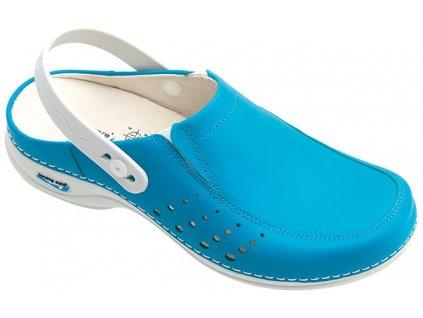 BERLIM pracovní kožená pratelná obuv s certifikací dámská s páskem modrá WG4AP19 Nursing Care 3
