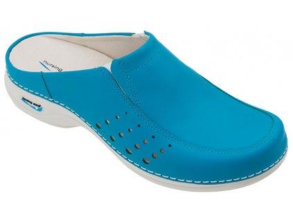 BERLIM pracovní kožená pratelná obuv s certifikací dámská bez pásku modrá WG4A19 Nursing Care 2