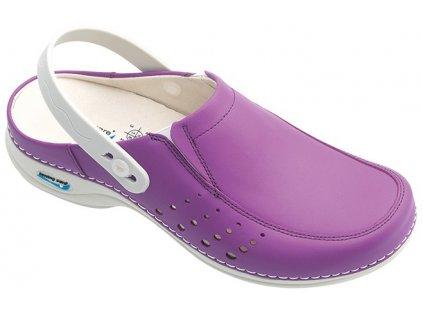 BERLIM pracovní kožená pratelná obuv s certifikací dámská s páskem purpurová WG4AP20 Nursing Care 3
