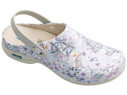 BERLIM pracovní kožená pratelná obuv s certifikací dámská s páskem primavera WG4APF18 Nursing Care 3