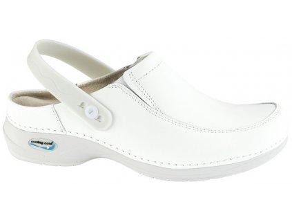 PARIS pracovní kožená pratelná obuv s certifikací unisex s páskem bílá WG4P10 Nursing Care