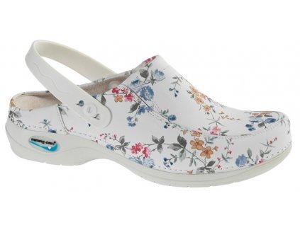PARIS pracovní kožená pratelná obuv s certifikací s páskem květy WG4PF1 Nursing Care(1)