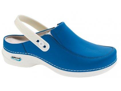 PARIS pracovní kožená pratelná obuv s certifikací unisex s páskem elektrická modrá WG4P07 Nursing Care(1)