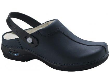 MADRID pracovní kožená pratelná obuv s certifikací unisex s páskem tmavě modrá WG2P03 Nursing Care